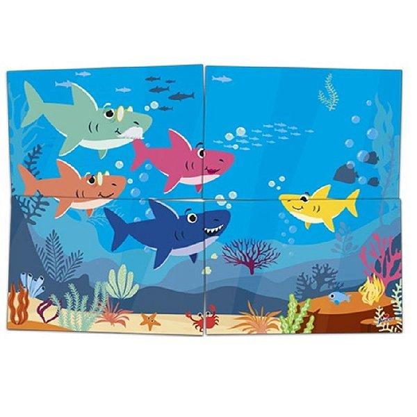 PAINEL 4 LÂMINAS FESTA  BABY SHARK - FAMILY SHARK - 01 UNIDADE - JUNCO