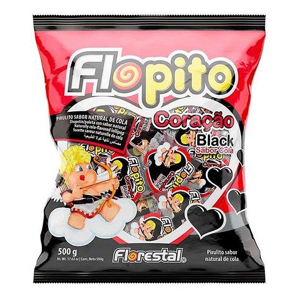 PIRULITO CORAÇÃO BLACK SABOR COLA  500G - FLOPITO
