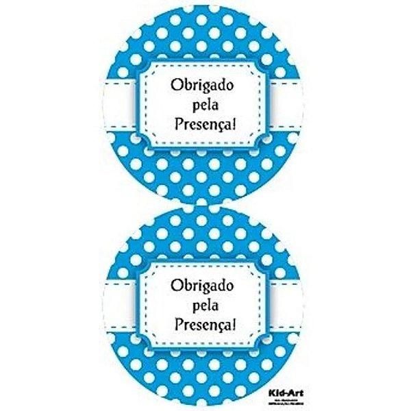 ADESIVO OBRIGADO PELA PRESENÇA POÁ AZUL - 10 UNIDADES - KID ART