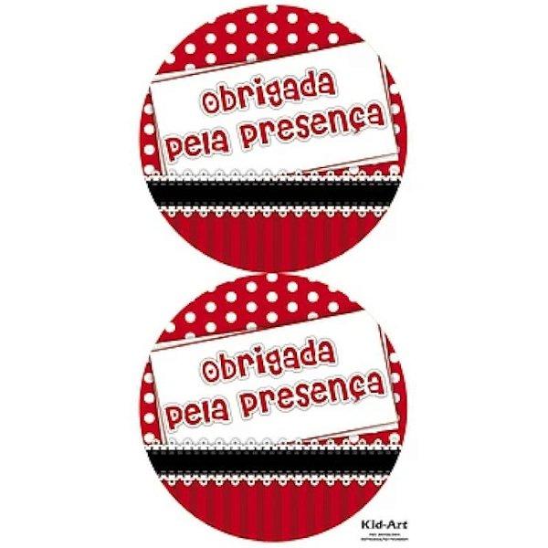 ADESIVO OBRIGADA PELA PRESENÇA - 10 UNIDADES - KID ART