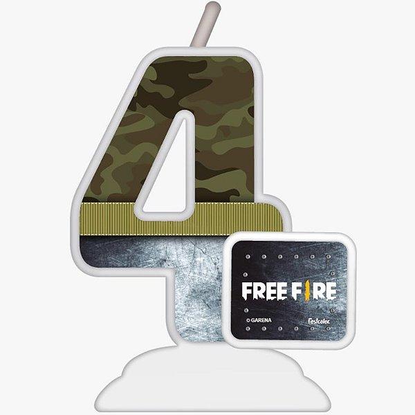 VELA TEMÁTICA FESTA FREE FIRE N°4 - 01 UNIDADE - FESTCOLOR