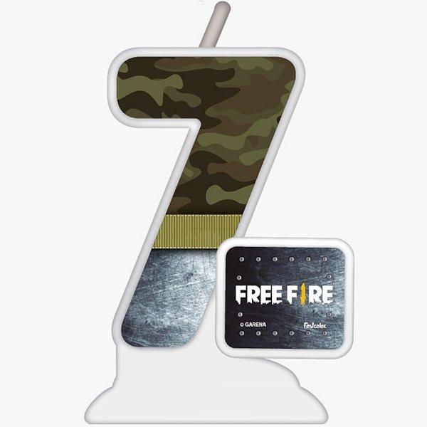 VELA TEMÁTICA FESTA FREE FIRE N°7 - 01 UNIDADE - FESTCOLOR