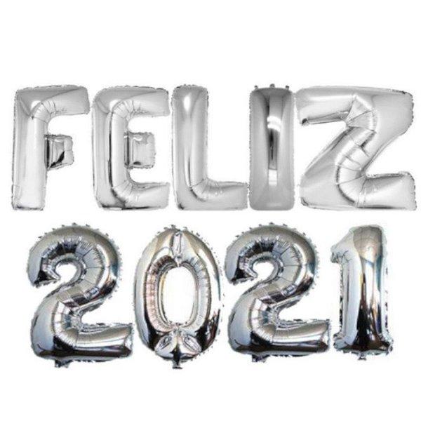 BALÃO METALIZADO KIT FELIZ 2021 PRATA - 16'' 40CM - YDH FESTAS