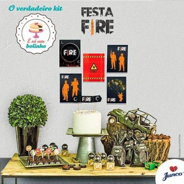 KIT FESTA SÓ UM BOLINHO - DECORAÇÃO FREE FIRE - JUNCO FESTAS