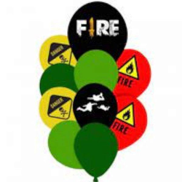 KIT BUQUE DE BALAO FREE FIRE - 10 UNIDADES - HAPPY DAY