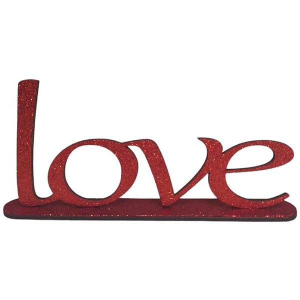 DECORAÇÃO MDF - LOVE -VERMELHO - EVA COM GLITTER - 11 X 23,5 CM - 01 UNIDADE - MAKE FESTAS