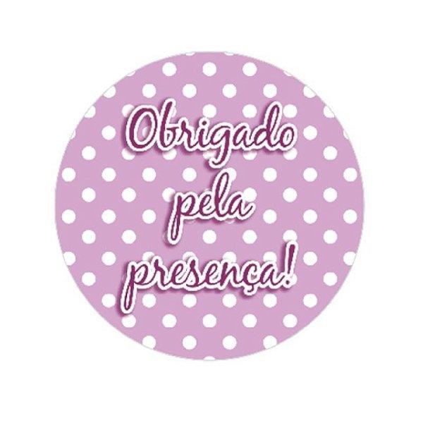ADESIVO REDONDO OBRIGADA PELA PRESENÇA! - ROSA/POA - CONTÉM 16 UNIDADES - REF.:6025 - NC TOYS