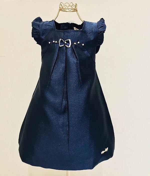 Vestido Azul Laço Marinho