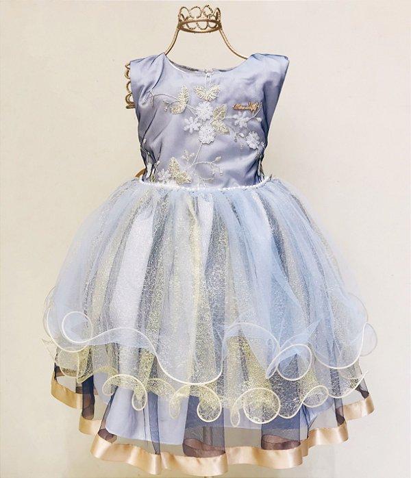 Vestido Festa Azul e Dourado Mily