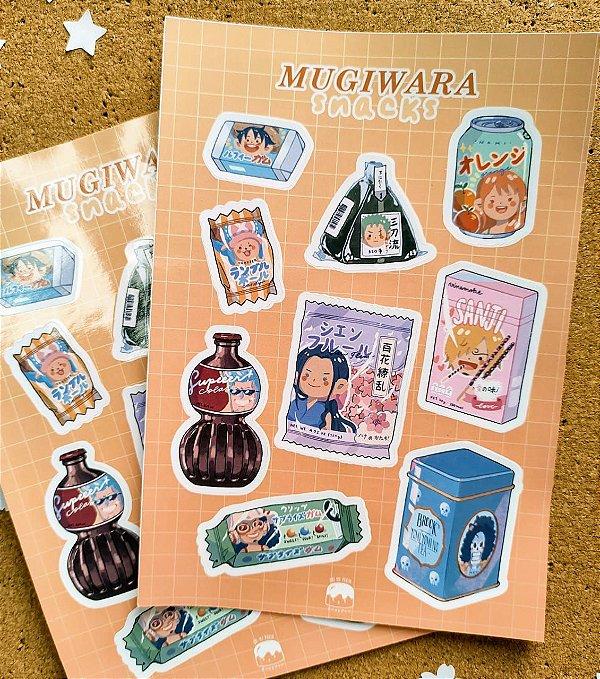 Cartela de adesivos - Mugiwara snack