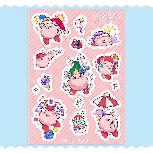 Cartela de adesivos - Kirby