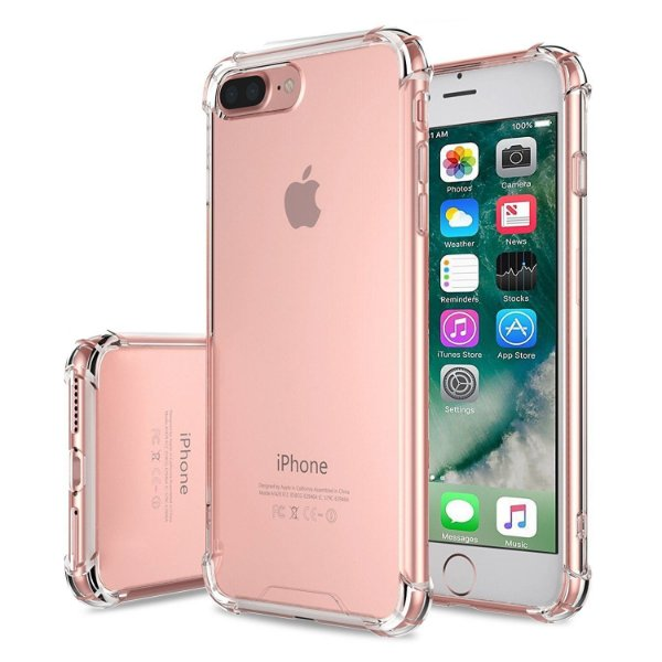 Capinhas para Iphone 7 PLUS com bordas translucida tpu silicone gel anti impacto
