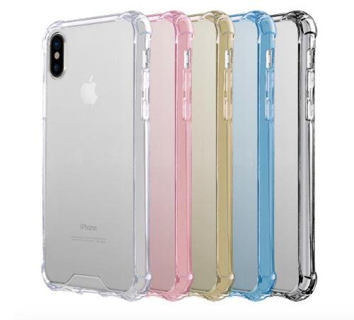 Capinhas para Iphone x com bordas translucida tpu silicone gel anti impacto