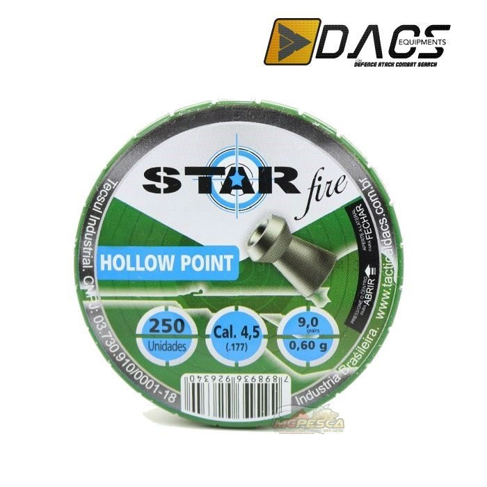 Chumbinho Dacs Star Fire Hollow Point 4,5mm