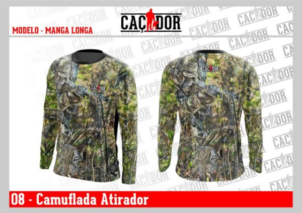 Camiseta Camuflada Manga Longa Atirador Dry Fit UV