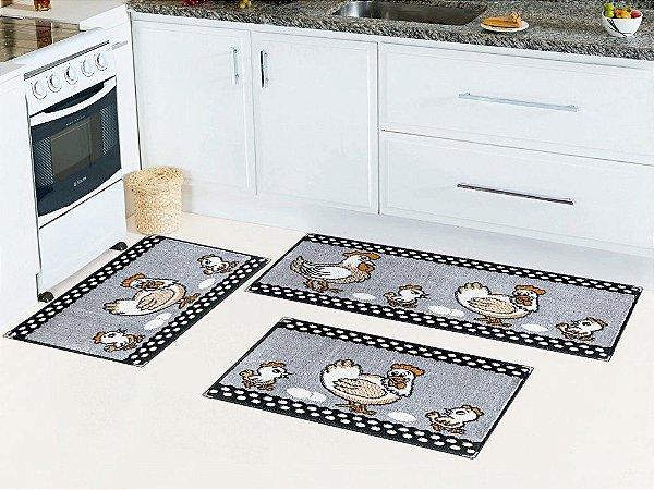 Kit de Tapetes de Cozinha Lancer Veludo Base Antiderrapante