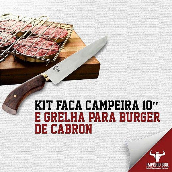 Kit Faca Campeira 10'' e GRELHA PARA BURGER DE CABRON