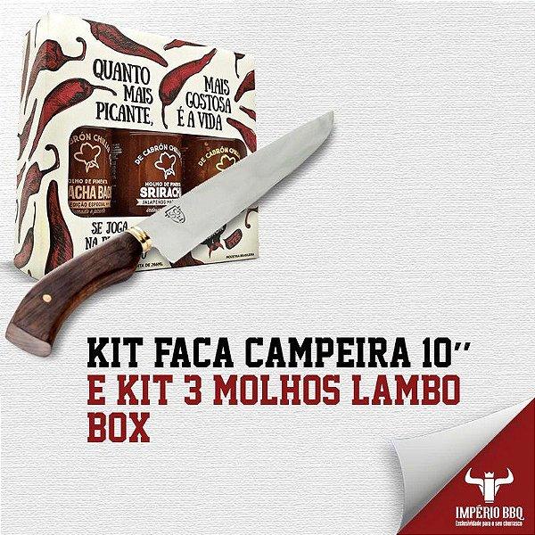Kit Faca Campeira 10'' e KIT 3 MOLHOS LAMBO - BOX