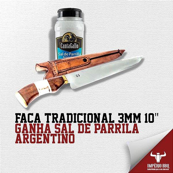 """FACA TRADICIONAL 3MM 10"""" – GANHE SAL DE PARRILA – ARGENTINO"""