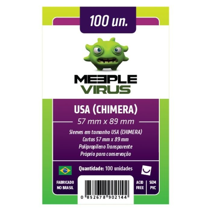 Sleeves Meeple Virus: USA Chimera (57 X 89 mm) – Pacote C/100