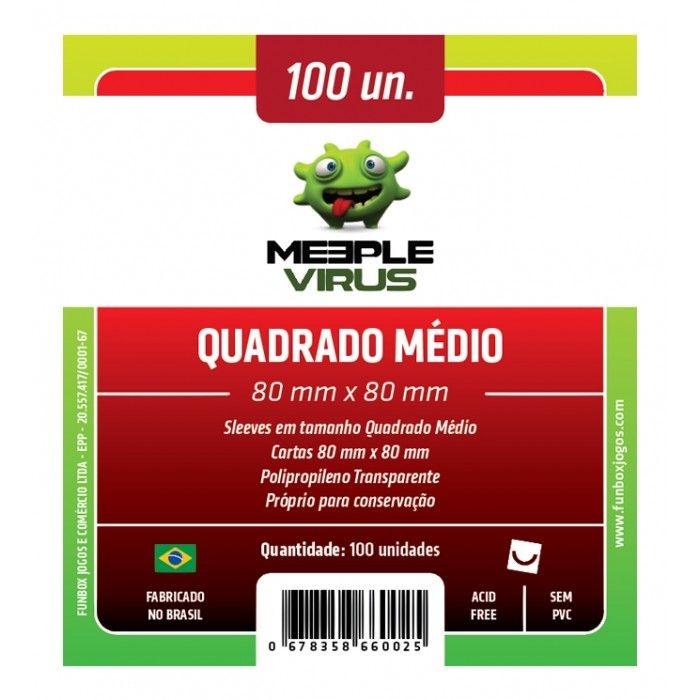 Sleeves Meeple Virus: Quadrado Médio (80 x 80 mm) - Pacote c/ 100