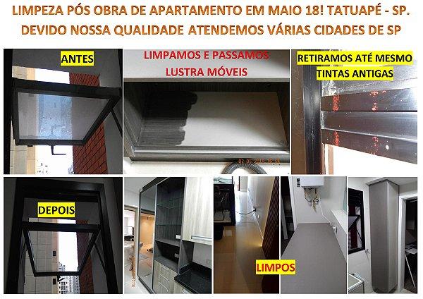 Limpeza pós obra em apartamentos em Tatuapé e Osasco. Sempre superamos as expectativas dos clientes!
