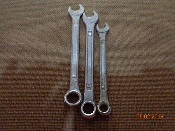 Kit com 3 chaves combinadas aço carbono cromado de 11, 10 e 8 mm