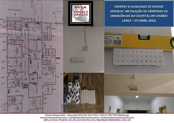 Instalação de luz de emergência