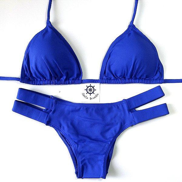 Biquíni Caraíva tiras grossas com calcinha empina bumbum e busto cortininha Azul