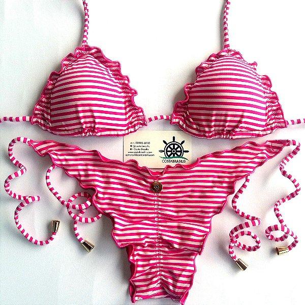 Empina Bumbum Lacinho com busto cortininha ripple estampa Listras Rosa e Branco