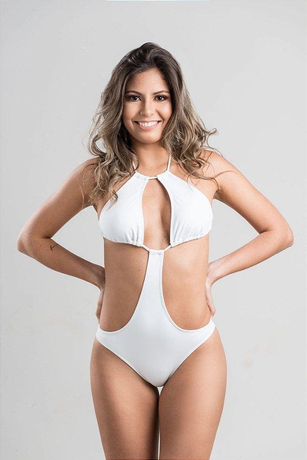 Maiô Inema engana mamãe com decote gota e busto cortininha alongado com bojo removível Branco