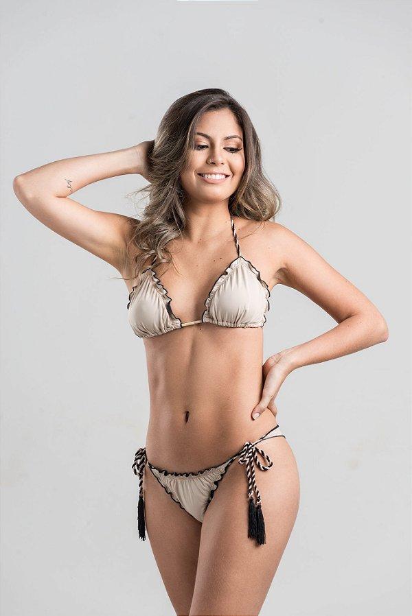 Empina Bumbum Lacinho Torcido com Tassel com busto cortininha ripple com bojo removível Nude e Preto