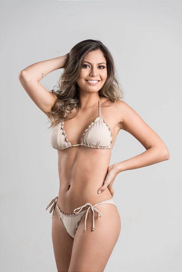 Empina Bumbum Lacinho com busto cortininha ripple com bojo removível Nude