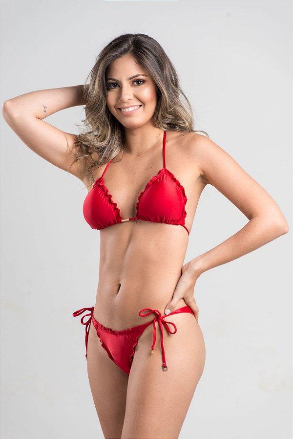 Empina Bumbum Lacinho com busto cortininha ripple com bojo removível Vermelho