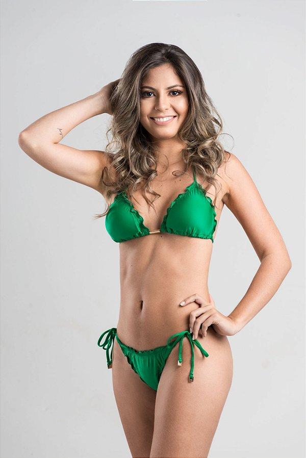 Empina Bumbum Lacinho com busto cortininha ripple com bojo removível Verde Luxo