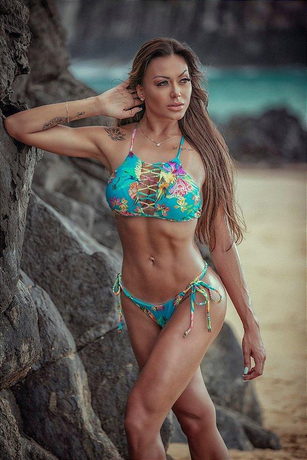 Biquíni Angra Cheeky Lacinho e top cropped com bojo removível estampa Bahamas