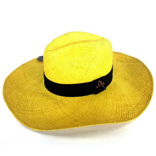 Chapéu de Palha Natural Aba Grande Amarelo