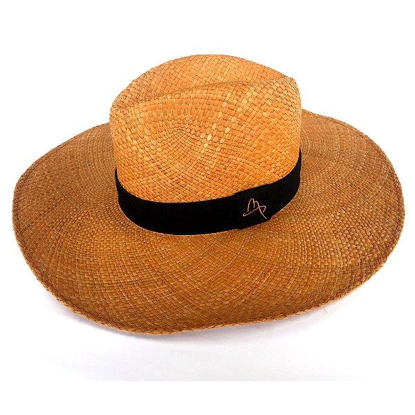 Chapéu de Palha Natural Aba Grande Laranja