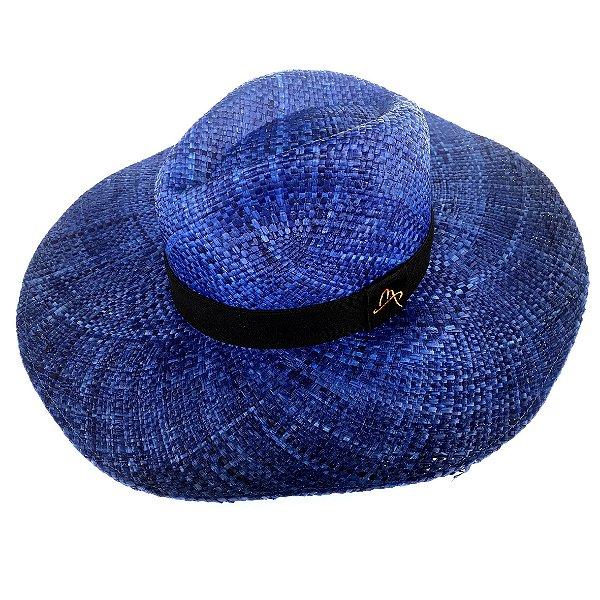 Chapéu de Palha Natural Aba Grande Azul Escuro