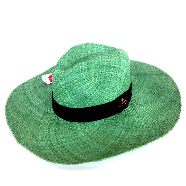 Chapéu de Palha Natural Aba Grande Verde
