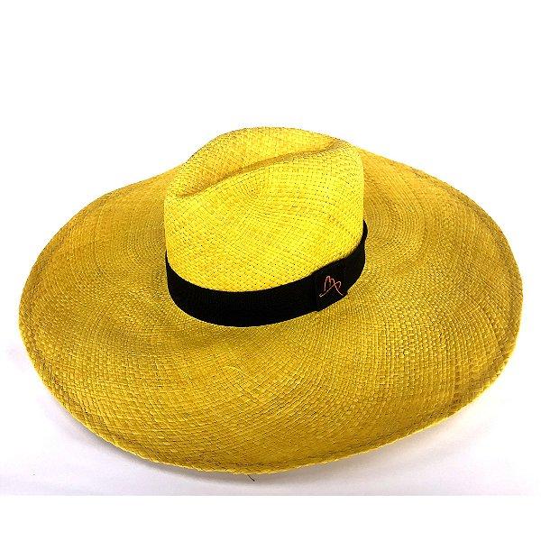Chapéu de Palha Natural Aba Gigante Amarelo