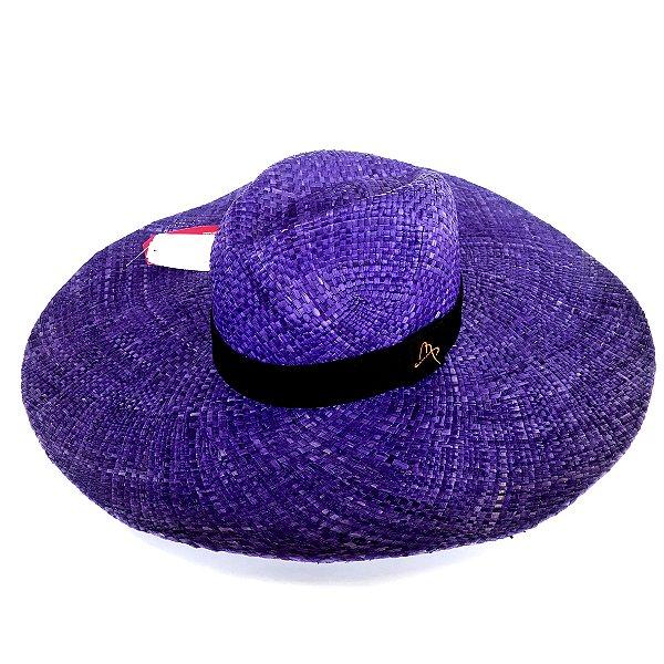 Chapéu de Palha Natural Aba Gigante Roxo