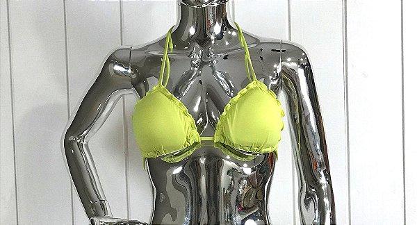 Busto Cortininha Ripple com bojo removível Verde Limão