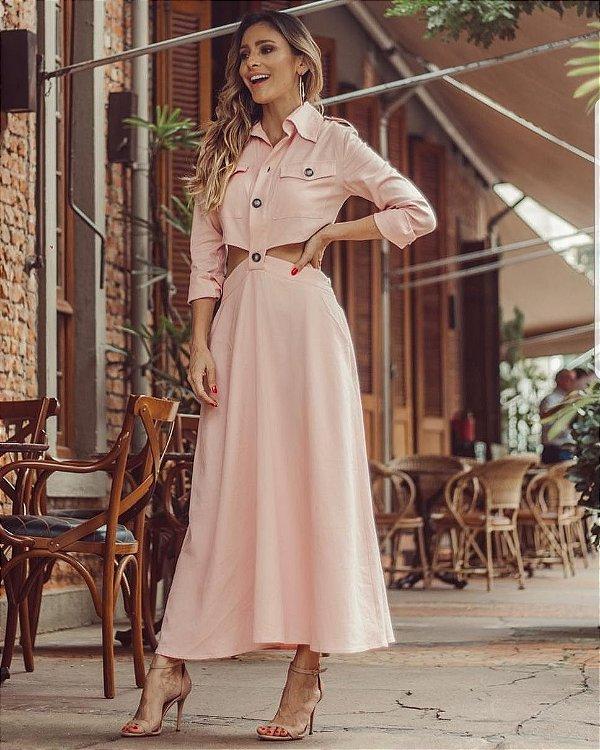 Vestido Midi Rosa Anne Fernandes