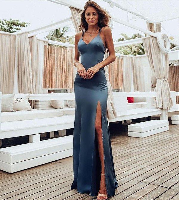 e85769f93a Vestido longo c fenda Diana - Jessie Boutique