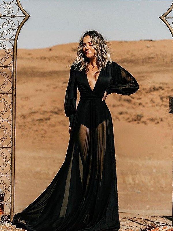 Vestido longo preto com alça removível Monalisa