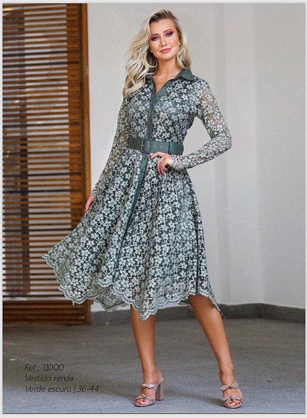 Vestido Midi em renda Luzia Fazzolli