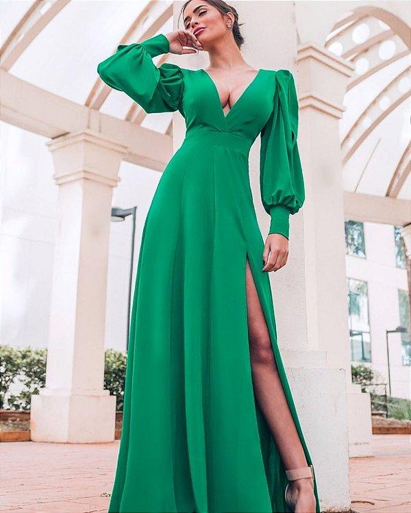 Vestido Longo Verde Esmeralda Grazi