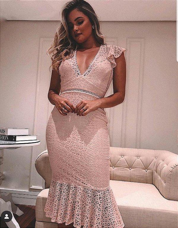 Vestido Midi de renda Rosa Doce Maria