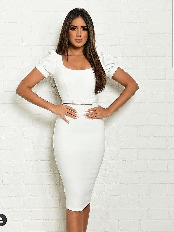 Vestido Midi Branco com cinto